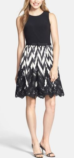 Eliza J Mixed Media Fit & Flare Dress $198 at Nordstrom