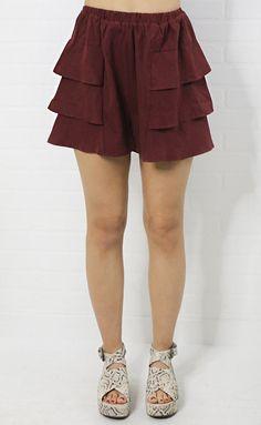 side ruffle high waisted shorts