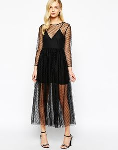 Enlarge Alice McCall Maxi Dress in Dotted Mesh with Slip