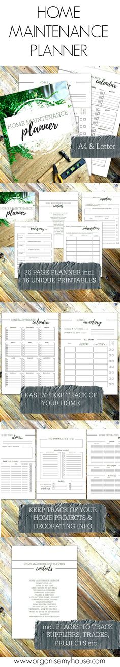 Home maintenance planner - Use by itself OR create a Home Management Binder / Home File for all your homes info in one place as this is part of a set of 6 planners to transform your housekeeping from Organise My House. Homemaking Planners and Printables.