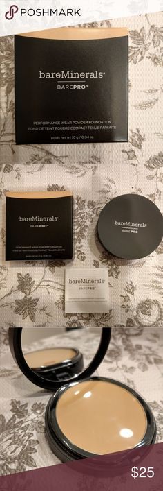 BAREPRO performance wear powder foundation Bareminerals  Shade: Golden ivory 08 *NEW* Untouched, never used, never swatched Still has original plastic covering over the powder. Only took it out of packaging to be photographed. bareMinerals Makeup Foundation
