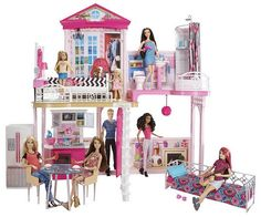 Barbie dream house 2018 structures houses furniture and shops for barbie barbie dream house 2018 black friday Doll Clothes Barbie, Barbie Doll House, Barbie Life, Barbie Dream House, Barbie Dolls, Minnie Mouse Toys, Barbie Playsets, Barbie Sets, Doll Games