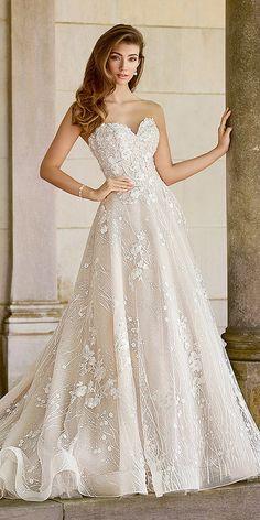 30 Martin Thornburg Wedding Dresses For 2018 ❤ martin thornburg wedding dresses a line floral appliques blush ❤ Full gallery: https://weddingdressesguide.com/martin-thornburg-wedding-dresses/ #bridalgown #weddingdresses2018