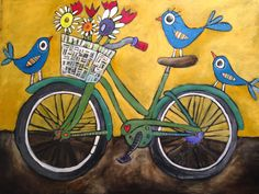 Jenni Horne : A Finished Piece Bicycle Painting, Bicycle Art, Bicycle Design, Doodle Art Drawing, Mini Canvas Art, Summer Art, Summer Beach, Whimsical Art, Art Auction