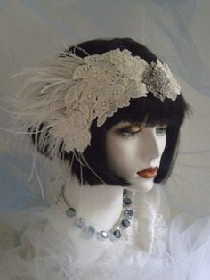 1920s Bridal Headpiece Flapper Headband by elisevictoriadesigns, $118.00