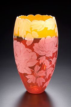 Peony art glass by Cynthia Myers
