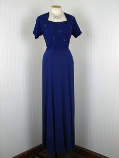 Vintage 1930s 1940s Dress FALL INTO GRACE Cobalt by jumblelaya, $234.00
