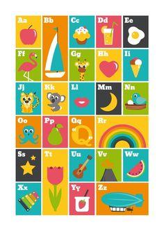 Poster ABC kleur A3 Illustrations, Illustration Art, Kids Poster, Preschool Worksheets, Wall Murals, Art Drawings, Kids Room, A3, Painting