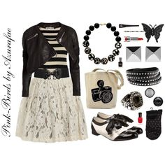 Indie rock style: lots of black and white with unexpected texture and style contrasts