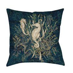 Thumbprintz Sea Horse Vignette Throw/ Floor Pillow (18 x 18), Multi (Polyester, Animal)