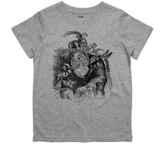 El Cheapo Animals and the Mirror Vintage Illustration (Black) Youth Grey Marle T-Shirt