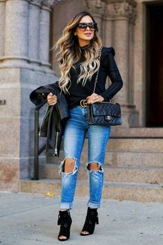 Fall BlackNordstrom Black Sweater (wearing an XS) // Levi's Jeans (wearing a 24) // Gucci Double G Belt // Nordstrom Black Booties // Celine Sunglasses (affordable version here) // Kate Spade New York Leather Jacket (under $100 version here) //...