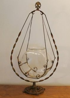 Rare Victorian Antique Vintage Iron Art Deco Ornate Hanging Fish Bowl Stand