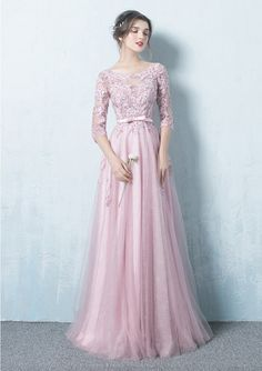Milanoo / Pink Prom Dresses 2017 Long Tulle Backless Prom Dress Lace Applique Three Quarter Sleeve Sash Maxi O Prom Dresses 2017, Backless Prom Dresses, Bridesmaid Dresses, Wedding Dresses, Dress Prom, Party Dresses, Maxi Dresses, Bridesmaids, Robes D'occasion