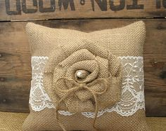 Ring Pillow Burlap Ring Bearer Pillow Wedding Pillow Shabby Chic Rustic Wedding Burlap and Lace