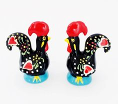 "Barcelos Rooster SALT & PEPPER SHAKER Glazed Ceramic Hand Painted and Decorated Pottery 9 x 7 x 5 cm  /  3.5 x 2.7 x 2""  from Portugal by PORTUGALWIDE on Etsy"