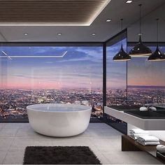 Modern architecture house design with minimalist style and luxury exterior and interior and using the perfect lighting style is inspiration for villas mansions penthouses Luxury Interior, Home Interior Design, Interior And Exterior, Room Interior, Luxury Penthouse, Luxury Apartments, Dream Bathrooms, Dream Rooms, Hotel Bathrooms