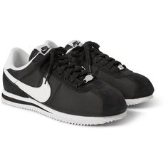 Nike Cortez Panelled Sneakers (£46) ❤ liked on Polyvore featuring mens, men's shoes, men's sneakers and black