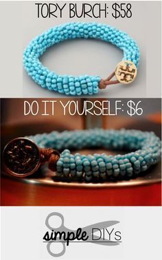 Cool Tory Burch Inspired Beaded Bracelet Tutorial |  How To Make Cool Handmade Jewelry Ideas & Other Awesome Crafts By DIY Ready. http://diyready.com/diy-beaded-bracelets-you-should-be-making/.