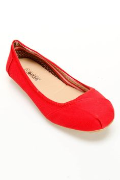 Naughty Soles Coachella Ballet Flat In Red Canvas - Beyond the Rack