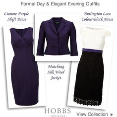 Hobbs Silk Wool Purple Lace Colour Block Dress and Jacket : Occasion Outfits