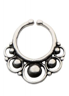Body VibeCircles White Brass Faux Septum Ring - Size: One Faux Septum Ring, Septum Piercing Jewelry, Body Piercing, Black Hole Sun, Cute Piercings, Gothic Jewelry, Brass, Circles, Silver