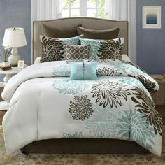 Anya 8 Piece Floral Print Bedding Set - Blue/Brown