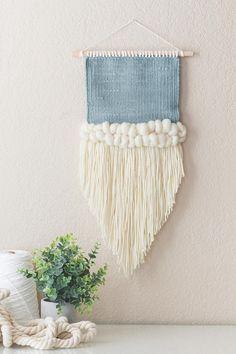 light blue angled weaving / wall weaving / handwoven wall