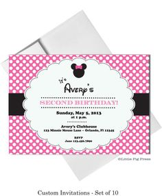 Minnie Mouse Party  Invitations  -  Set of 10 - Printable File Available on Etsy, $18.00
