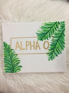Alpha Omicron Pi Sorority Canvas palm leaves banana leaves