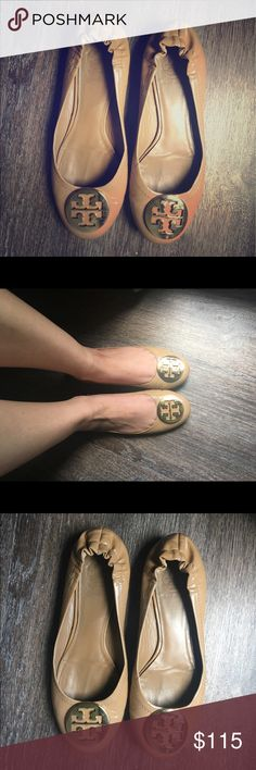 Tory burch patent leather flats Previously loved but still in really good shape. Size 8. Gold logo patent leather nude color. Tory Burch Shoes Flats & Loafers