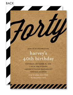 Retro Kraft 40th Birthday Invitations