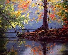 Fall stream: Graham Gerckin oil painting