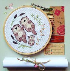 Family cross stitch kit otter family easy cross stitch