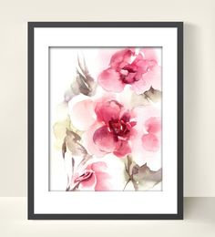 Abstract Flowers Watercolor Painting Art Print, Pink Floral Art, Modern Wall Art, Watercolor Art
