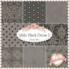 """Little Black Dress 2  8 FQ Set - Grey By BasicGrey For Moda Fabrics: Little Black Dress 2 is a neutral collection by BasicGrey for Moda Fabrics.  100% cotton.  This set contains 8 fat quarters, each measuring approximately 18"""" x 21""""."""