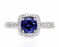Platinum Art Nouveau Blue Sapphire Engagement Ring Diamond Halo Blue Sapphire Ring Vintage Custom Bridal Jewelry