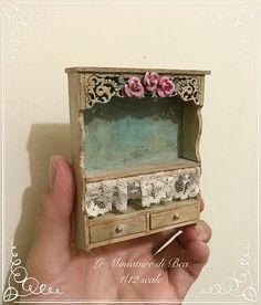 1/12 dollshouse decorated beige and sky blue shelf with drawers dollshouse miniatures hand made in wood by Bea Measurements H 95 mm W 70 mm D 20 mm