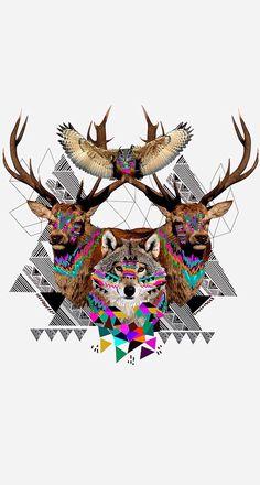 Imagen de wolf, deer, and animal