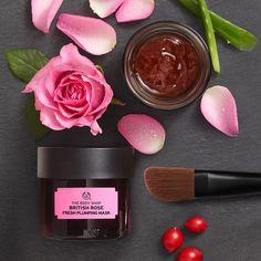 British Rose Fresh Plumping Mask with real rose petals, moisturising rose essence, toning Chilean rose hip oil and community trade organic aloe vera.