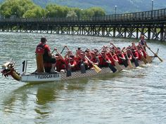 Dragon boating on the Shuswap Lake at the Salmon Arm Wharf