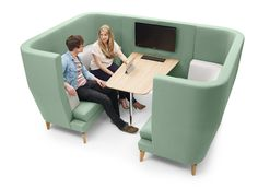 A bit too corporate office but I like the idea to create work pods in the public area  Entente | Hospitality and Corporate Furniture by Lyndon Design
