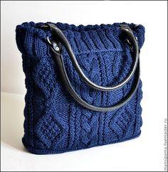 """Купить Сумка """"Джейн"""" - тёмно-синий, вязаная сумка, натуральная кожа, синий королевский"""