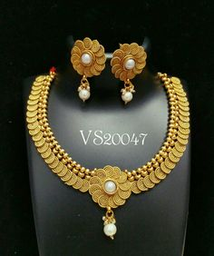 Indian jewellery antique designer pearl necklace earrings south indian jewellery