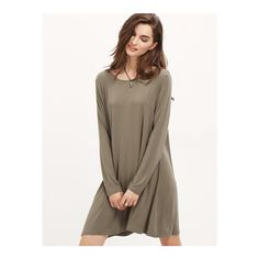SheIn(sheinside) Grey Long Sleeve Casual Dress ($10) ❤ liked on Polyvore featuring dresses, grey, shift dress, long sleeve shift dress, long-sleeve shift dresses, gray dress and long sleeve short dress