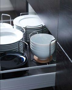 | P | Kitchen dish drawer organization