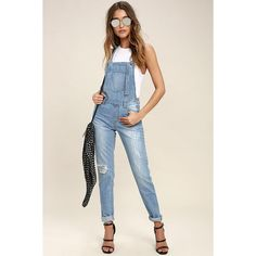 a3551444294 Glamorous Dolores Park Light Wash Distressed Denim Overalls ( 67) ❤ liked  on Polyvore featuring