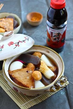 """Oden - One of my favorite fall/winter recipes is Oden, a Japanese stew or """"hot pot"""" made of dashi stock and an assortment of Japanese fish balls and fish cakes. Oden is my must-order item at my favorite izakaya—a seasonal dish available during the fall and winter months. #Japanese #stew #fish"""