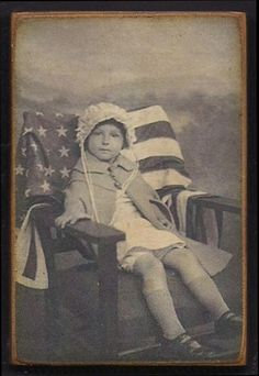 Wood Magnet American Flag Patriotic Little Girl Vintage Style 167. $4.00, via Etsy.