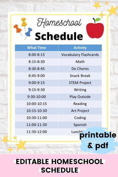 Kids Schedule Chart, Home Preschool Schedule, Daily Routine Chart For Kids, Kindergarten Schedule, Daily Schedule Kids, Charts For Kids, Homeschool Kindergarten, Home School Preschool, School Schedule Printable